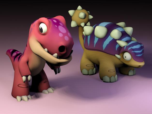 Две разных игрушки - динозавра